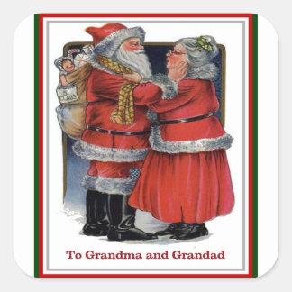 Adesivo Quadrado Ao Sr. da avó e do Grandad e à Sra. Claus Natal