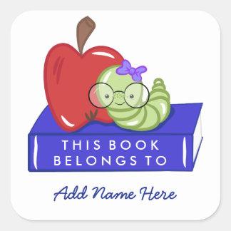 Adesivo Quadrado Apple & o leitor ávido este livro pertencem a