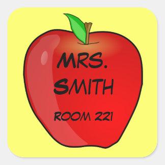 Adesivo Quadrado Apple vermelho no nome do professor amarelo e no