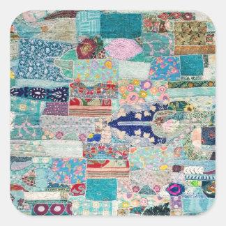 Adesivo Quadrado Aqua e design azul da tapeçaria da edredão