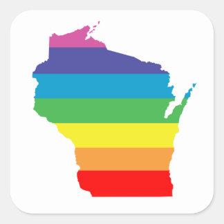 Adesivo Quadrado arco-íris de Wisconsin