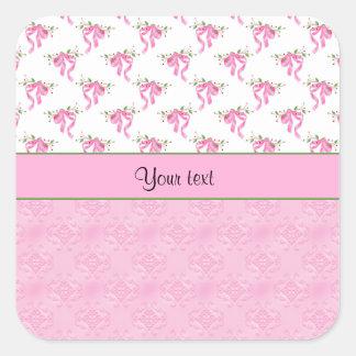 Adesivo Quadrado Arcos cor-de-rosa românticos & damasco cor-de-rosa