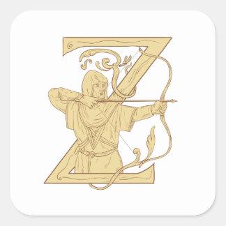 Adesivo Quadrado Arqueiro medieval que aponta o desenhar da letra Z