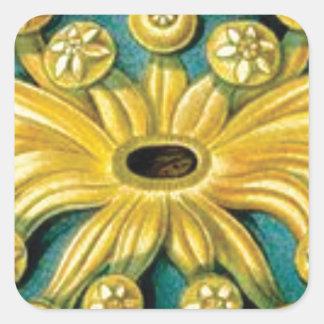 Adesivo Quadrado arte amarela da explosão da flor