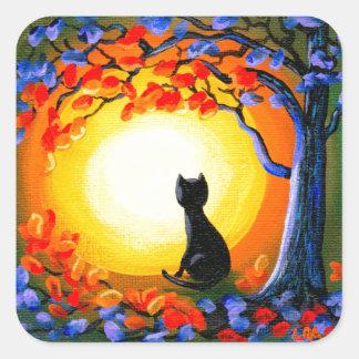 Adesivo Quadrado Arte Creationarts do gato preto do Dia das Bruxas