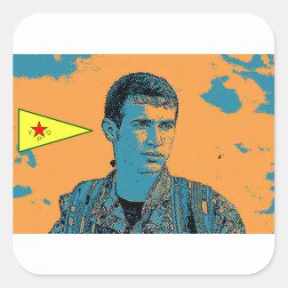Adesivo Quadrado Arte curdo 3 do lutador de YPG