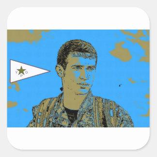 Adesivo Quadrado Arte curdo 4 do lutador de YPG
