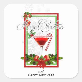 Adesivo Quadrado Arte da aguarela do cocktail do Natal