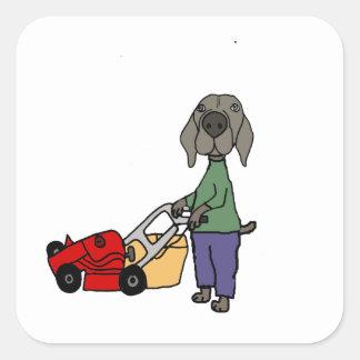 Adesivo Quadrado Arte de sega do gramado do cão engraçado de