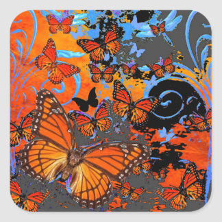 Adesivo Quadrado Arte do clima de tempestade das borboletas de