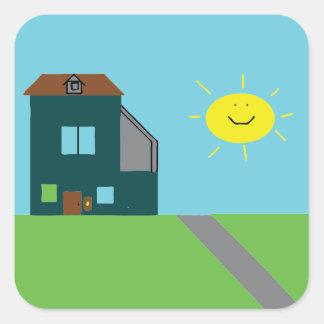 Adesivo Quadrado Arte do miúdo - céu & luz do sol da casa