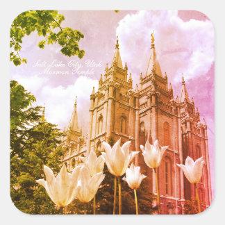 Adesivo Quadrado Arte do templo de Mormon de Salt Lake City, Utá