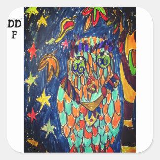 Adesivo Quadrado arte dois da queda da coruja