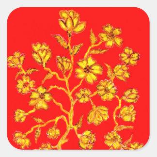 Adesivo Quadrado Arte dourada de Sakura