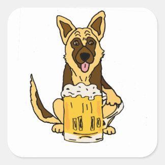 Adesivo Quadrado Arte engraçada da cerveja do bebendo do cão de
