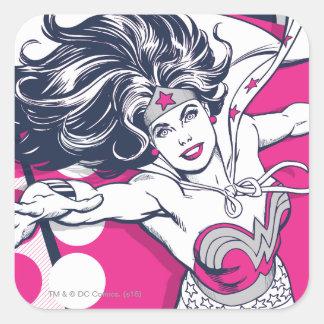 Adesivo Quadrado Arte Glam retro do caráter da mulher maravilha