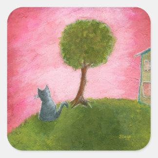Adesivo Quadrado Arte popular lunática do gato do gatinho que pinta