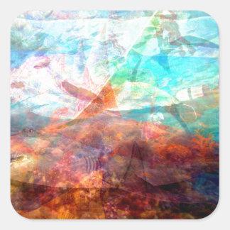 Adesivo Quadrado Arte subaquática de inspiração bonita da cena