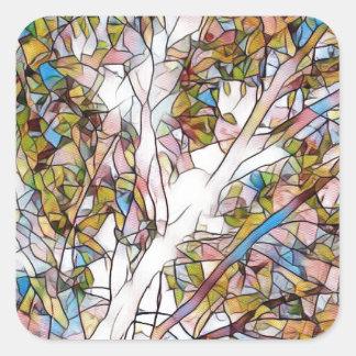 Adesivo Quadrado Árvore bonito do vitral Photomanipulatio da vida