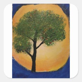 Adesivo Quadrado Árvore contra o Sun