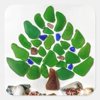 Adesivo Quadrado Árvore de Natal de vidro do mar verde