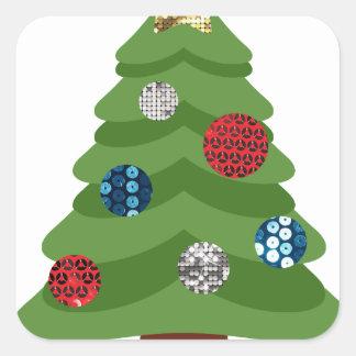 Adesivo Quadrado árvore de Natal do emoji