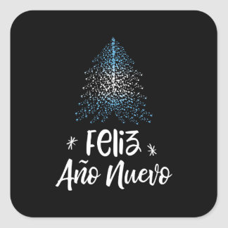 Adesivo Quadrado Árvore de Natal do feliz ano novo com bandeira de