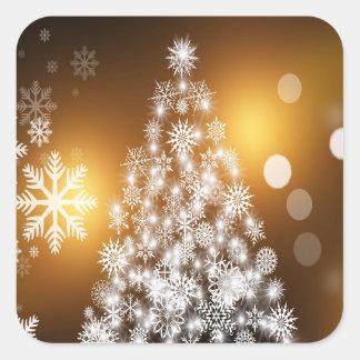 Adesivo Quadrado Árvore dourada do floco de neve de Bokeh do Natal
