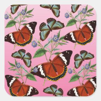 Adesivo Quadrado as borboletas misturam o rosa