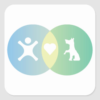 Adesivo Quadrado As pessoas do coração perseguem o diagrama de Venn