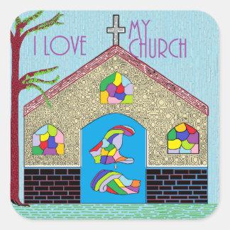Adesivo Quadrado ASL eu amo minha igreja