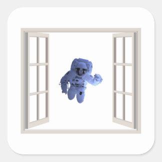 Adesivo Quadrado Astronauta atrás da janela
