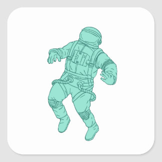 Adesivo Quadrado Astronauta que flutua no desenho do espaço