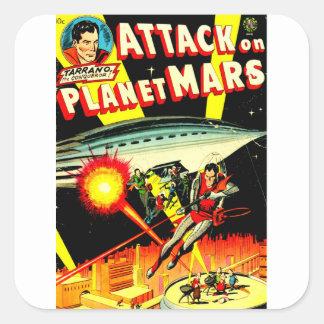 Adesivo Quadrado Ataque no planeta Marte