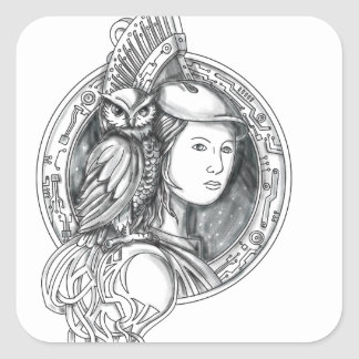 Adesivo Quadrado Athena com a coruja no Cir do circuito eletrônico