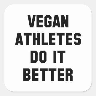 Adesivo Quadrado Atletas do Vegan melhora