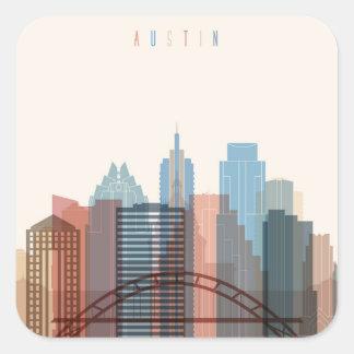 Adesivo Quadrado Austin, skyline da cidade de Texas |