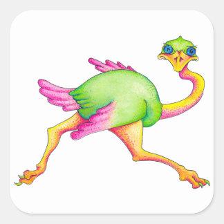 Adesivo Quadrado Avestruz rara
