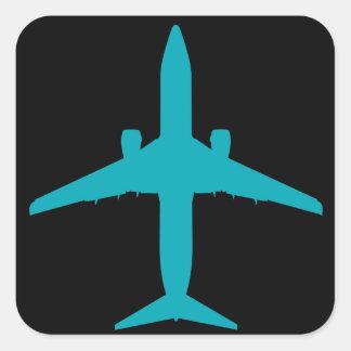 Adesivo Quadrado Avião gráfico no azul do Aqua