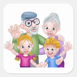 Adesivo Quadrado Avós e netos dos desenhos animados