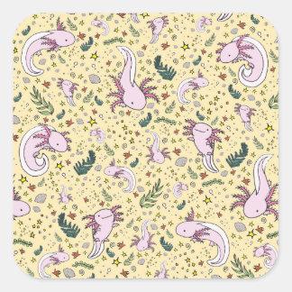 Adesivo Quadrado Axolotls no amarelo