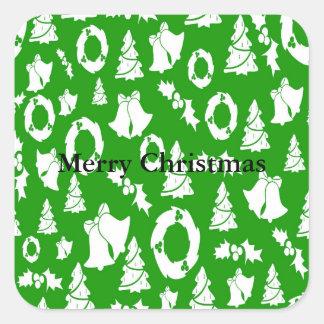 Adesivo Quadrado Azevinho Bels da grinalda das árvores de Natal