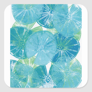 Adesivo Quadrado Azuis da almofada de lírio