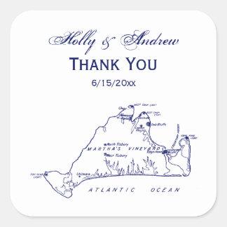 Adesivo Quadrado Azuis marinhos do mapa #1 do vintage do Martha's