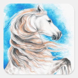 Adesivo Quadrado Azul andaluz do cavalo