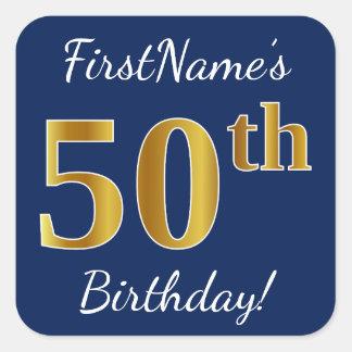 Adesivo Quadrado Azul, aniversário do ouro do falso 50th + Nome