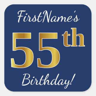 Adesivo Quadrado Azul, aniversário do ouro do falso 55th + Nome