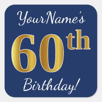 Adesivo Quadrado Azul, aniversário do ouro do falso 60th + Nome