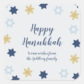 Adesivo Quadrado Azul bonito da estrela de David   e ouro Hanukkah