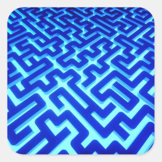 Adesivo Quadrado Azul do labirinto